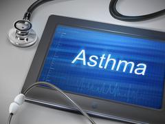 asthma word display on tablet - stock illustration