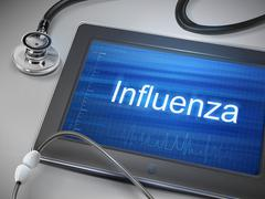 influenza word displayed on tablet - stock illustration