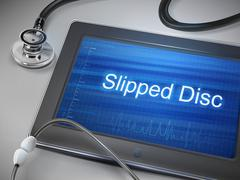 Slipped disc words displayed on tablet Stock Illustration