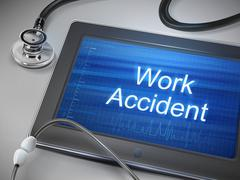 Work accident words displayed on tablet Stock Illustration