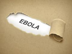 the word ebola behind torn paper - stock illustration