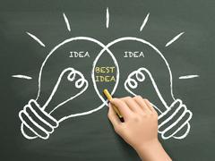 Best idea light bulbs concept drawn by hand Stock Illustration