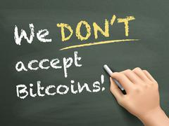 we don't accept bitcoins written by hand - stock illustration