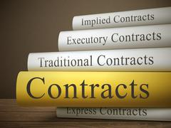 Book title of contracts isolated on a wooden table Stock Illustration
