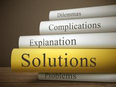 Book title of solutions isolated on a wooden table Stock Illustration