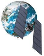 space satellite and the planet earth - stock illustration