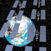 satellite with solar panels and the earth - stock illustration