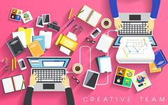 Stock Illustration of working place of creative team in flat