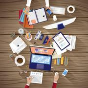 working place of creative team in flat design - stock illustration