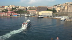 Naples Italy ferry boats arriving in port fast 4K 010 Stock Footage
