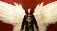 Asian Girl with Angel Wings Arkistovideo