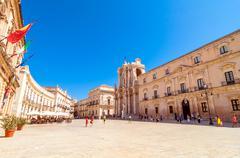 main square piazza del duomo in ortigia, syracuse, italy - stock photo