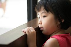 sad asian girl - stock photo