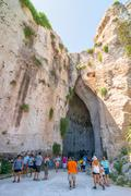 ear of dionysius, tourist attraction in syracuse, italy - stock photo