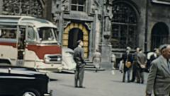 Munich 1959: people visiting Frauenkirche Stock Footage