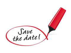 save the date - text marker with squiggle - stock illustration