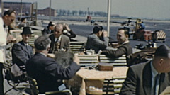Munich 1959: outdoor bar by the side of the airport runway Stock Footage