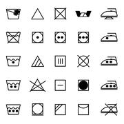 Fabric care sign and symbol icons on white background Piirros