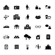 Stock Illustration of retirement community icons on white background