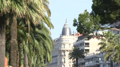Carlton Hotel, Cannes, Palm Trees Stock Footage