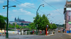 Time lapse of Pedestrians and Traffic pass by in Prague Stock Footage