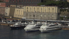 Naples Italy ferry boats in city port harbor 4K 014 Stock Footage