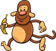 Stock Illustration of monkey with banana cartoon illustration