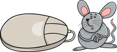computer mouse and real rodent cartoon - stock illustration