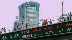 4K, UHD, Financial stock market trading board ticker chart in Shanghai, China Stock Footage
