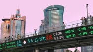 Stock Video Footage of Financial electronic Dow Jones index billboard in Shanghai, China, BlackMagic