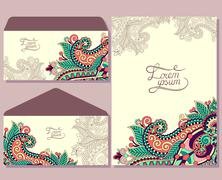 special beautiful design for greeting card and envelopes - stock illustration