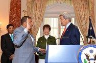 Secretary Kerry Swears in Assistant Secretary Rose Stock Photos