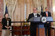 Ambassador Chacon Delivers Remarks at his Swearing-in Ceremony Stock Photos