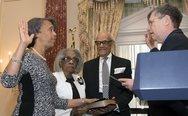 Under Secretary Kennedy Swears in Ambassador Bernicat Stock Photos