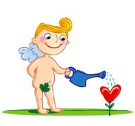 Cupid watering a flower. Stock Illustration