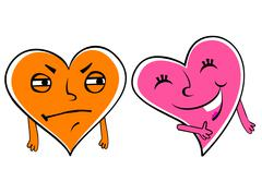 Jealous cartoon heart Stock Illustration