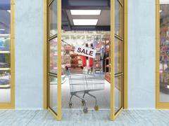 Shopping sale concept background with shopping trolley Stock Illustration