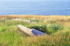 stone benches surrounding with long grass near sea - stock photo