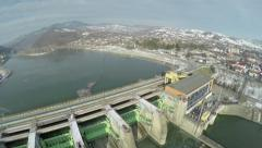 Aerial shot of a hydroelectric power station dam - stock footage