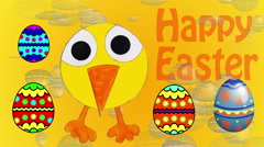 Happy Easter - Dancing yellow bird and Eggs Stock Footage