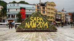Town Square - Sleepy Mountain Village Daytime - Sapa Vietnam Stock Footage