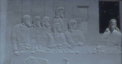 Desert Christ Park Last Supper 60s 16mm Stock Footage