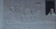 Desert Christ Park Last Supper 60s 16mm - stock footage