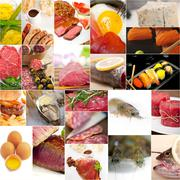 high protein food collection collage - stock photo