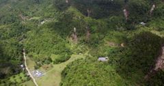 Aerial of destroyed karst Chocolate Hills after earthquake Stock Footage