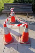 Danger cones with caution tape Stock Photos
