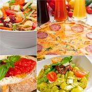 Healthy vegetarian vegan food collage Stock Photos
