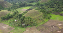 Aerial of outskirts of Bohol Chocolate Hills Stock Footage