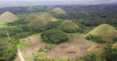 Aerial of Chocolate Hills karst formation Stock Footage