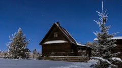 Stars sky timelapse, wooden house at winter night in village, Stock Footage